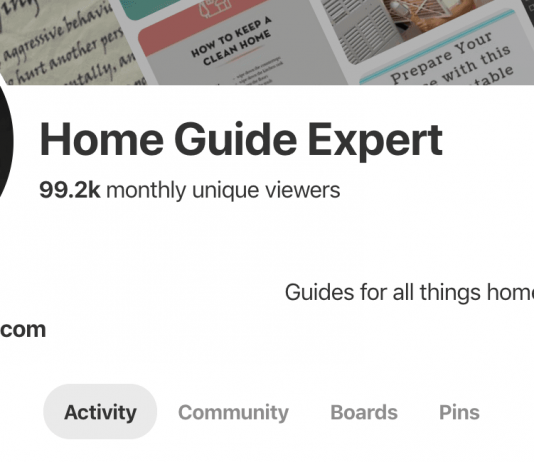 Image of screen shot of HomeGuideExpert Pinterest account with 99.2k monthly viewers