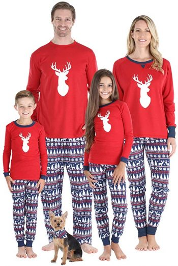 Image of family wearing Christmas Deer inspired pyjamas