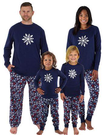 Image of family wearing snowflake inspired pyjamas