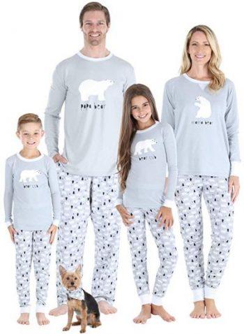 Image of family wearing Christmas Polar Bear inspired Pyjamas