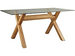 Oak Cross Leg Clear Glass Top Rectangle 4 or 6 Seater Dining Table Bevelled Edg