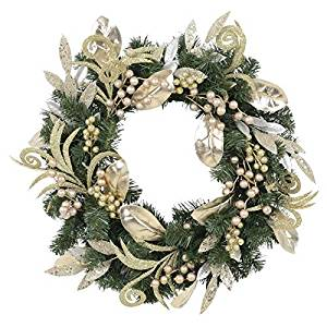 Image of gold silver leaves berries and pine LED wreath