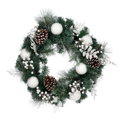Image of green and white Christmas wreath