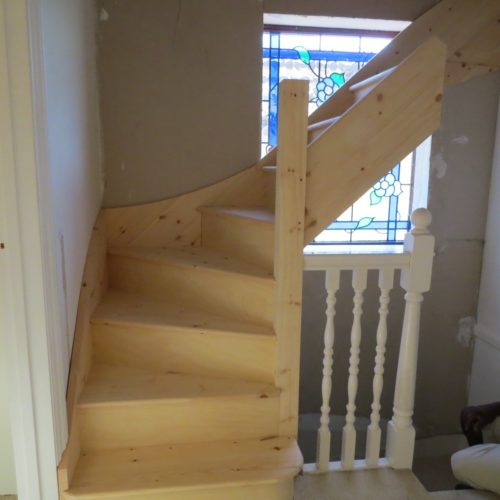 View of part installed loft stairs