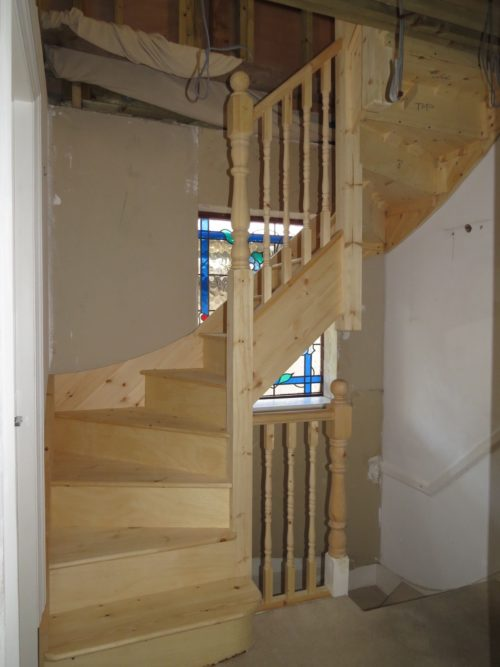 View of installation of loft stairs
