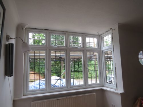 Living room bay window following installation