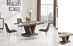 Dining Table in Marble Effect, Modern Design Available in Black and Brown (Black with 6 Chairs)