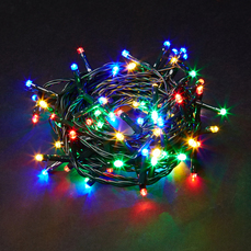 100 Multi-Coloured Static LED Indoor & Outdoor Lights - Mains Powered