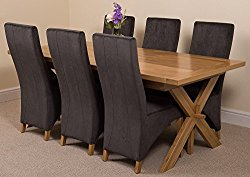 Vermont Extending Kitchen Solid Oak Dining Set Table and 6 Black Fabric Chairs
