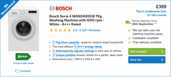 Image of bosch washing machine