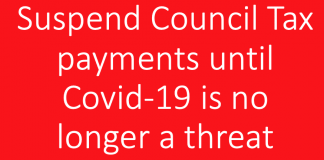 Image of the words suspend council tax payments until Covid-19 is no longer a threat to our society