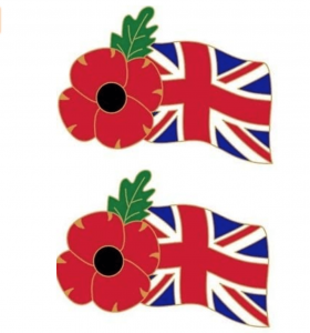 VE Home Decorations Flag badge with Poppy Metal Pin Badges
