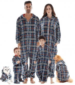 Blue flannel Christmas onesie