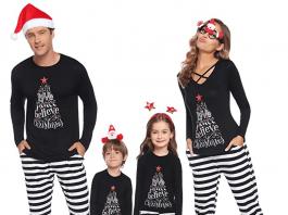 Black and white striped Christmas Pyjamas