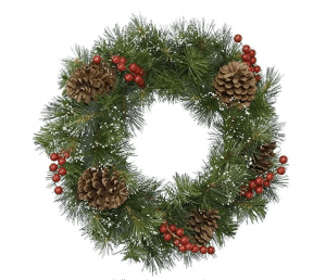 Traditional Decorative Christmas Door Wreath with Berries & Pine Cones