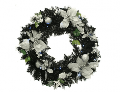 Black and Silver Pre Lit Christmas Wreath