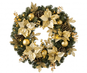 Pre-lit Luxury Cream and Gold Christmas Wreath