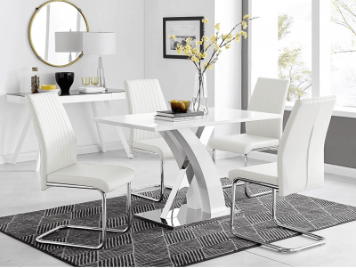 White hi-gloss 4 seater table and chairs