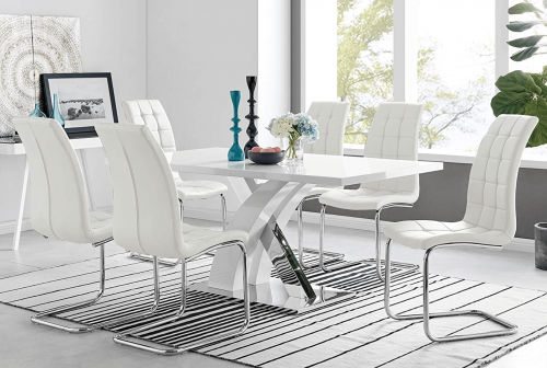 White high gloss 6 seater table and chairs