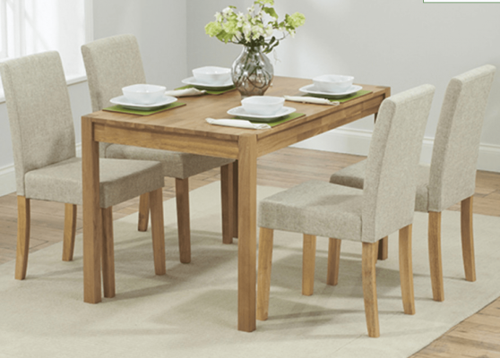 Oak 4 seater dining table and chairs