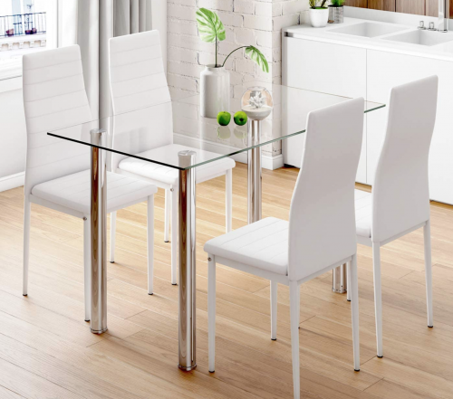 Tempered Glass Dining Room Table and Chairs
