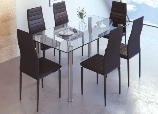 Tempered Glass 6 seater table and chairs