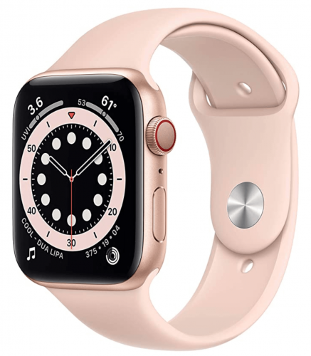 New Apple Watch Series 6 (GPS + Cellular, 44mm) - Gold Aluminium Case with Pink Sand Sport Band