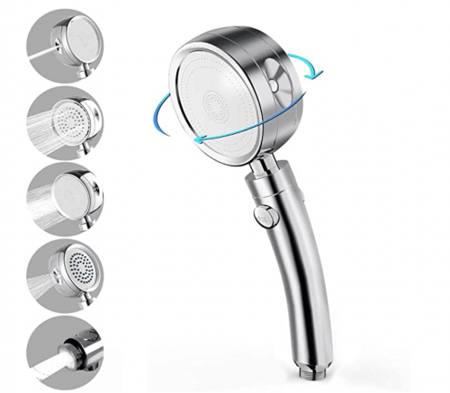 Shower Head Hand Shower, 5 Jet Types, High Pressure Handheld High Pressure, with Stop Button Water-Saving Shower Head, Universal Handheld ShowerHeads