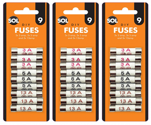 27pk Mixed Cartridge Fuse Set | High Quality 9 x 3 amp, 9 x 5 amp, 9 x 13 amp Fuses | Overcurrent Protection Device For Home & Office Mains Plugs
