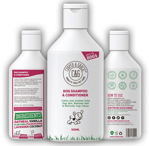 C&G Pets | Dog Shampoo & Conditioner 500ML | Anti-Bacterial Anti-Fungal | Calms & Soothes Itchy Dog Skin | Restores Hairs | Remove Bad Odour