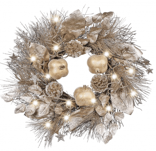 Valery Madelyn Pre-Lit 17.7 Inch Gold Christmas Wreath with Pomegranate Ornaments and Pine Cone, Battery Operated 20 LED Lights