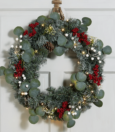 Lit Snowy Berry Eucalyptus Wreath