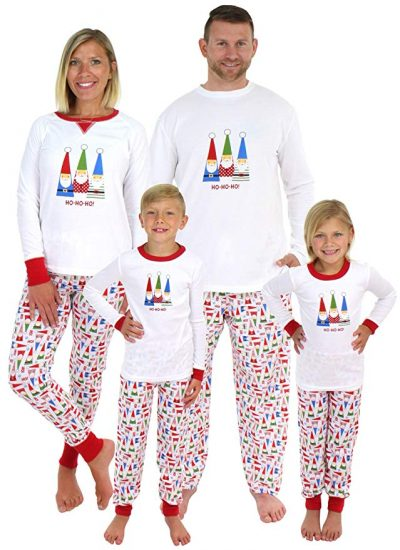 Image of family wearing Christmas Gnome inspired pyjamas