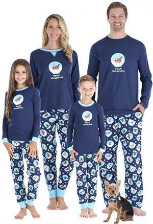 Image of family wearing Winter Wonderland inspired Pyjamas