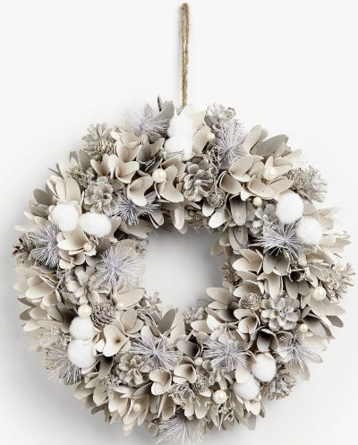 Image of a snowscape snowball and pearl wreath