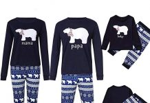 Image of family wearing Christmas Snowflake and polar bear inspired pyjamas