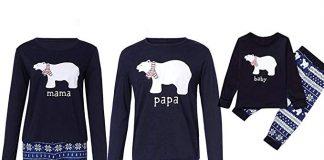 Image of family wearing Christmas Snowflake and polar bear inspired pyjamas