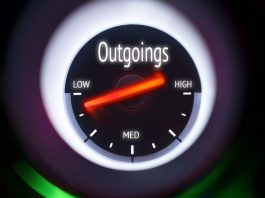 Image of a speedometer with arrow pointing to low outgoings
