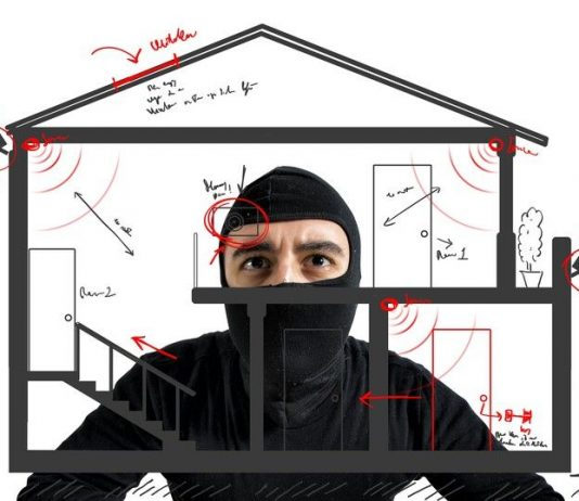 Image of burglar looking at house security