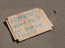 Image of a homeless sign