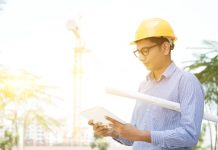Image of a person on a building control site visit
