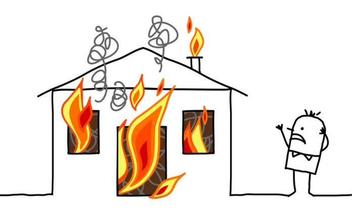 Image of a cartoon house on fire