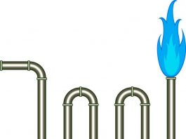 Image of gas pipes and blue flame