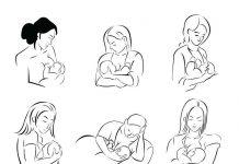 Cartoon image of women breastfeeding their baby