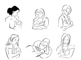 Cartoon image of women breastfeeding their baby
