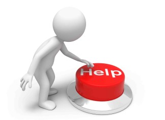 Picture of someone pushing a help button